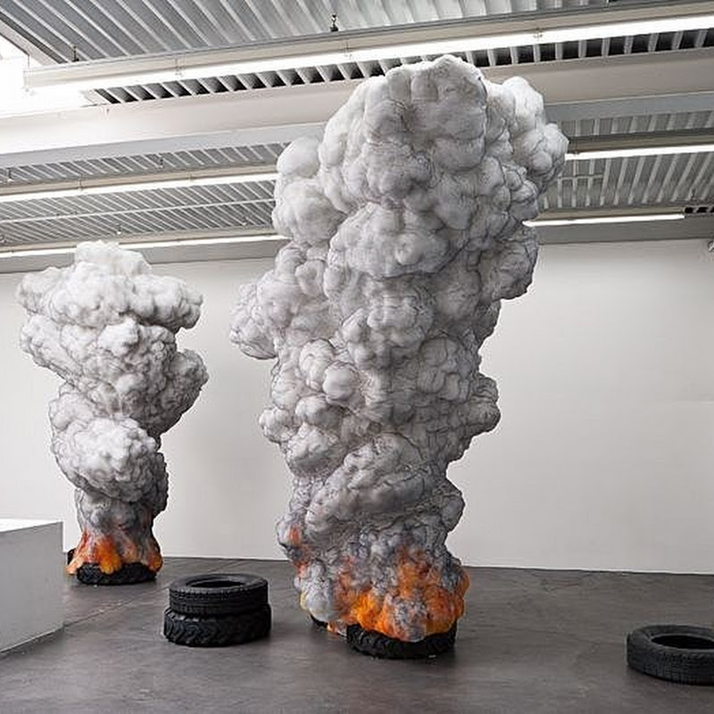 Amazing Sculpture of Burning Tires by Gal Weinstein