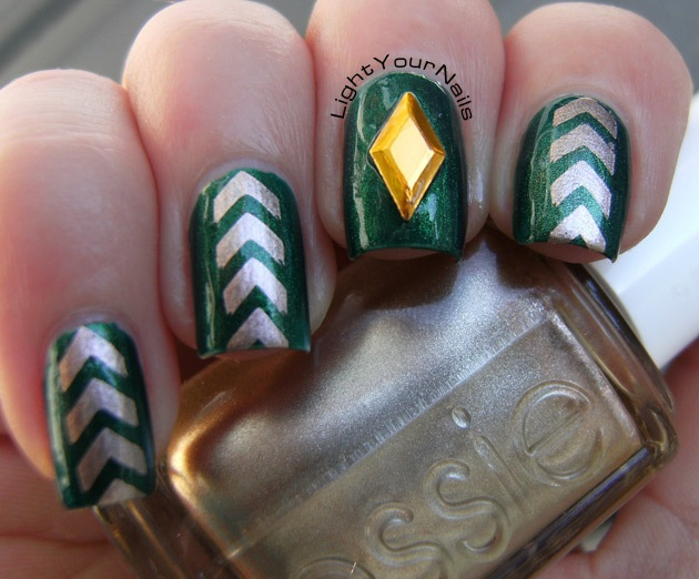Emerald + copper stamping + stud accent