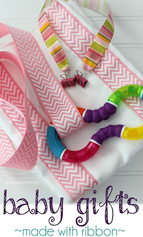 baby gifts made with ribbon at GingerSnapCrafts.com #offray #ribbon #baby