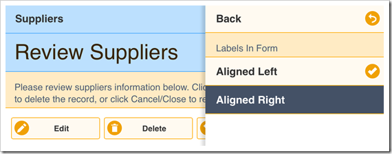 Changing the form label alignment to the right.