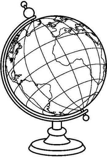 Vintage Globe Line Drawing : Pintar globos terraqueos