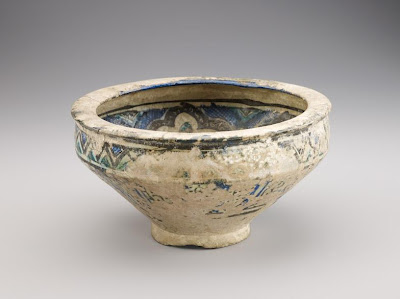 Bowl | Origin:  Syria | Period: 13th-14th century | Details:  Not Available | Type: Stone-paste decorated with glaze | Size: H: 15.4  W: 29.3  cm | Museum Code: F1907.183 | Photograph and description taken from Freer and the Sackler (Smithsonian) Museums.