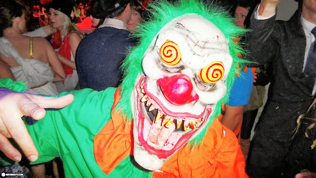scary clown at the Halloween party at Maison Mercer in Mississauga, Ontario, Canada