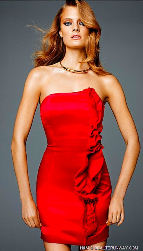 H&M CONSCIOUS COLLECTION EXCLUSIVE GLAMOUR 2012 SPRING organic hemp mulberry silk strapless ruffle dress red carpet fashion eco