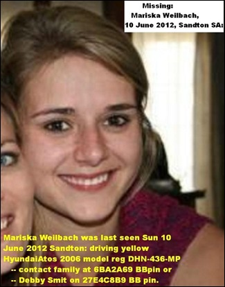 WEILBACH MARIKA MISSING