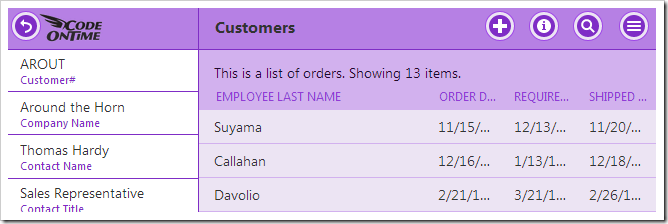 Customers page does not display any page headers.