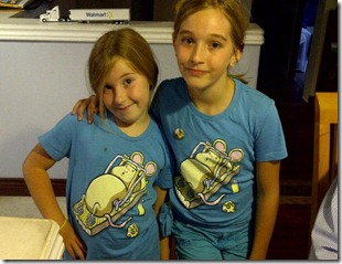 "My minions in their matching threadless ""let's get physical"" tshirts"