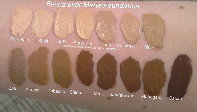 Becca Foundation Swatches/Becca Ever Matte Shine Proof Foundation; Review & Swatches of Shades-