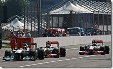 Schumcher, Hamilton e Button nel gran premio d'Italia 2011