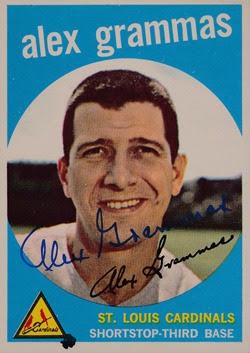 1959 Topps 6 Alex Grammas dark autographed