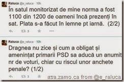 Dragnea nu zice și cum a obligat și amenințat primarii PSD sa aducă un anumit nr de voturi, chiar cu riscul unor anchete penale? (1/2) În satul monitorizat de mine norma a fost 1100 din 1200 de oameni încă prezenți în sat. Plata s-a făcut în lemne pt iarnă.  (2/2)