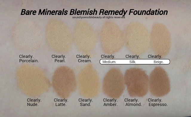 BareMinerals Blemish Remedy Foundation; Review & Swatches of Shades 1) Clearly Porcelain, 2) Clearly Pearl, 3) Clearly Cream, 4) Clearly Medium, 5) Clearly Silk, 6) Clearly Beige, 7) Clearly Nude, 8) Clearly Latte, 9) Clearly Sand, 10) Clearly Amber, 11) Clearly Almond, 12) Clearly Espresso