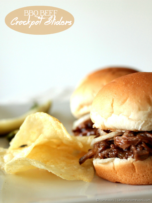 BBQ Beef Crockpot Sliders via homework (9)