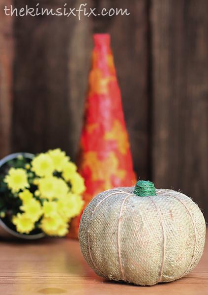 Burlap twine pumpkin