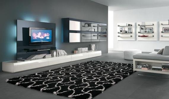 Mueble de TV negro y de vidrio