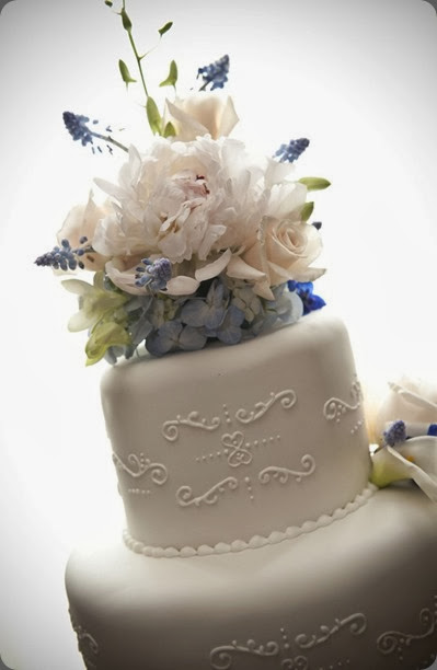cake blue-and-white-cake  MQ Photography and fat cat flowers