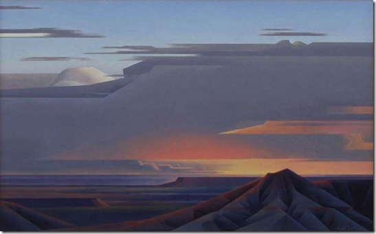 Ed Mell Mesa's Skies 24 x 40 SOLD