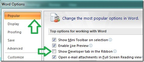 How To Show Developer Tab In Ribbon Ms Office 2007 Amp 2010