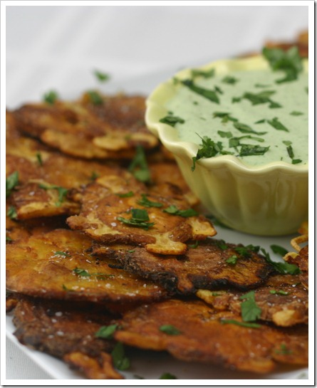 Tostones (friend plantains) with Creamy Garlic Cilantro Dip
