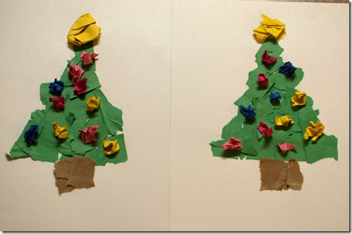 Creatively Blooming: Torn Paper Christmas Trees