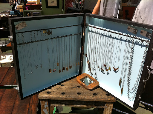 Not only did the girls find great jewelry at the flea market, but they were excited to see all of the interesting ways the vendors displayed it.