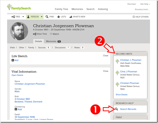 From person page you can: 1. initiate a search of historical records for that person, and 2. examine record hints.