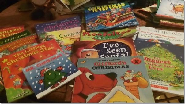 Gathering Books to Make a Christmas Picture Book Advent Chain