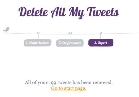 Delete All My Tweets (pesan hasil proses penghapusan)