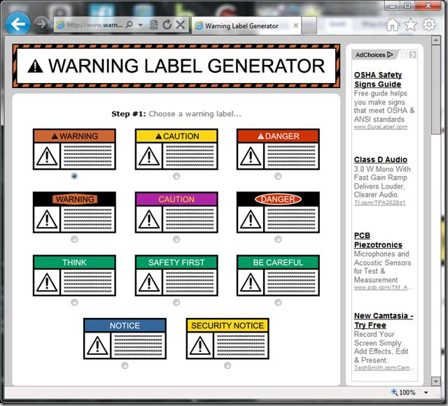 warninglabelgenerator.com screenshot