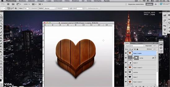 Crear un ícono de caja de madera con forma de corazón