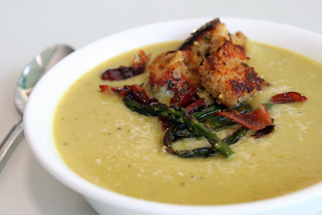 Asparagus + White Bean Soup with Pancetta Croutons