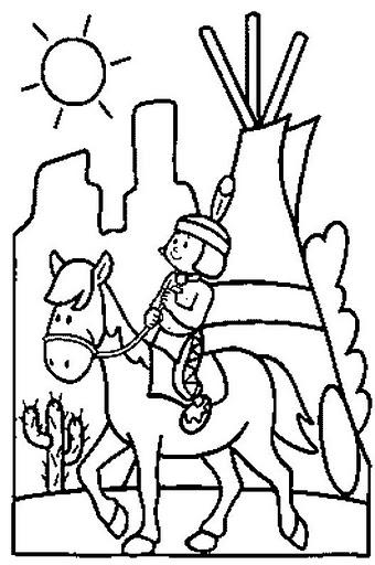 Dibujos de indios para colorear - Dessin anime indien cheval ...