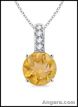 Round Citrine and Diamond Pendant