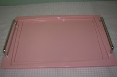 Soda fountain/parfait set with four pink plastic and glass cups and a pink tray