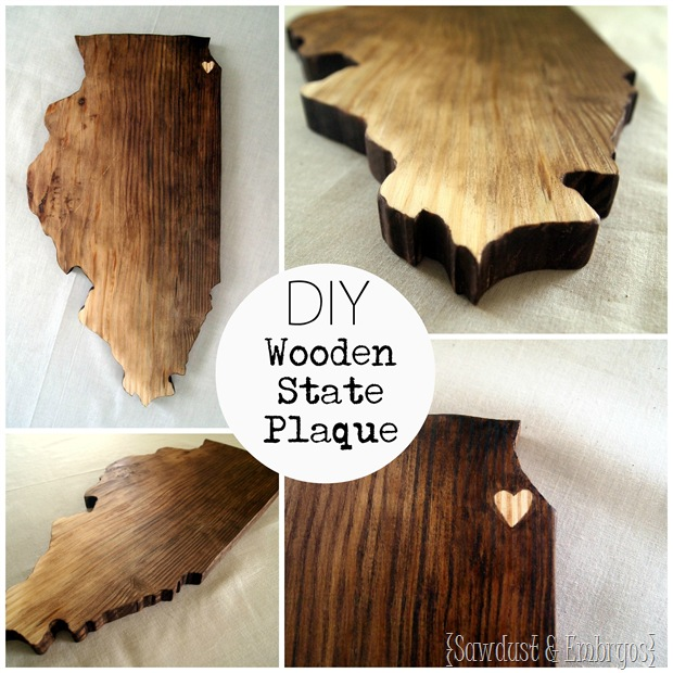 DIY Wooden State (or Country) Plaque
