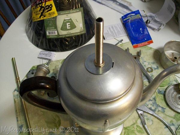 repurposed coffee pot lamp