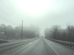11.2011 Maine Otisfield foggy morning from inside car 2