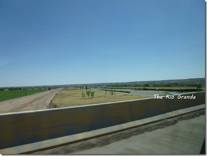 The Rio Grande River in New Mexico. Traveling east, I-10 crosses the Rio Grande and then the interestate turns more south as it heads to the border at Anthony, Texas.
