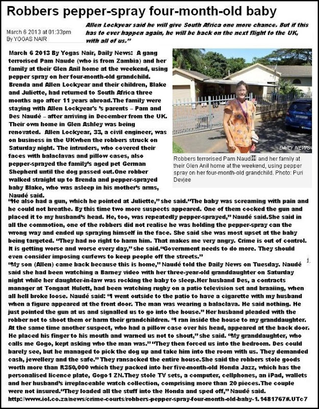 NAUDE and LOCKYEAR FAMILY TERRORISED KIDS PEPPERSPRAYED BY GANG MARCH52013 GLEN ANIL DURBAN