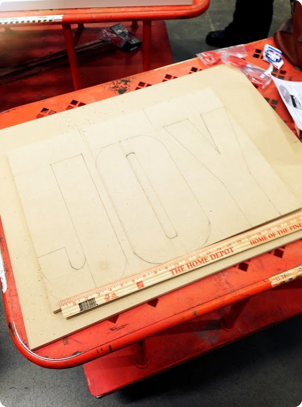 MEASURING OUT LETTERS FOR JOY MARQUEE SIGN