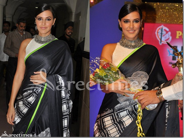 Neha_Dhupia_Black_Satya_Paul_Saree_Blouse