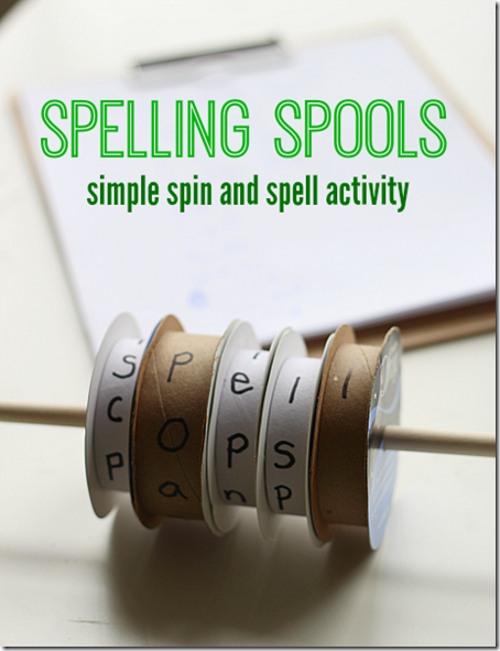 spelling spools #spellingwords #homeschool #kindergarten #handsonlearning