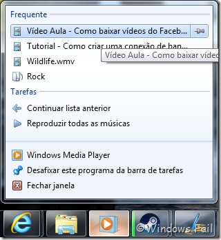 Arquivos reproduzidos frequentemente no Windows Media Player