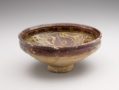 Bowl | Origin:  Iran | Period: 12th-13th century | Details:  Not Available | Type: Earthenware with decoration carved through a white slip and coloring under a transparent glaze | Size: H: 10.3  W: 21.9  cm | Museum Code: F1925.9 | Photograph and description taken from Freer and the Sackler (Smithsonian) Museums.