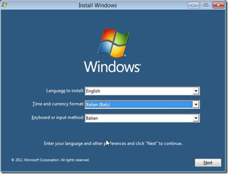 Prima schermata installazione  Windows 8