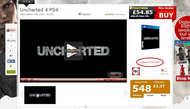 UK online retailer suggests a 2015 release date for Uncharted 4