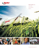 A CNG-fueled Freightliner dominates the cover of Ryder's recently published Sustainability Report.