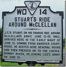 Stuart's Ride Around McClellan marker WO-14 in New Kent County, VA