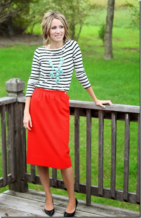 Red skirt, stripes and teal statement necklace.