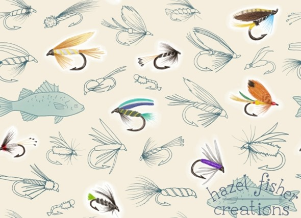 2014 July 08 fishing fly Spoonflower design